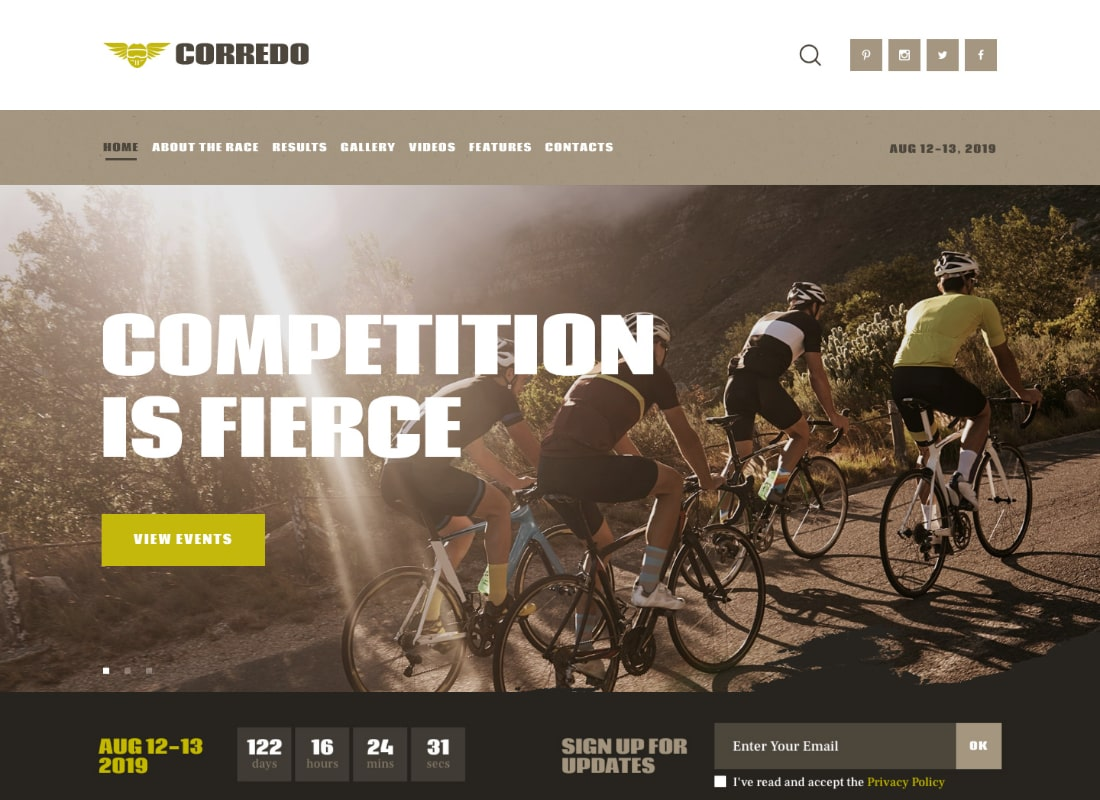 Corredo | Bike Race & Sports Events WordPress Theme