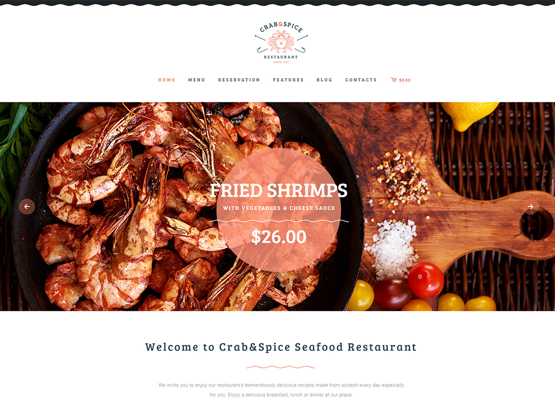Crab & Spice - Restaurant and Cafe WordPress Theme