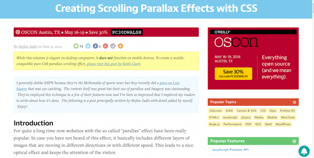 Creating Scrolling Parallax Effects with CSS