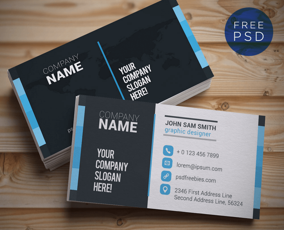 Top 22 free business card psd mockup templates in 2017 colorlib creative and clean business card template psd psdfreebies psdfreebies reheart Images