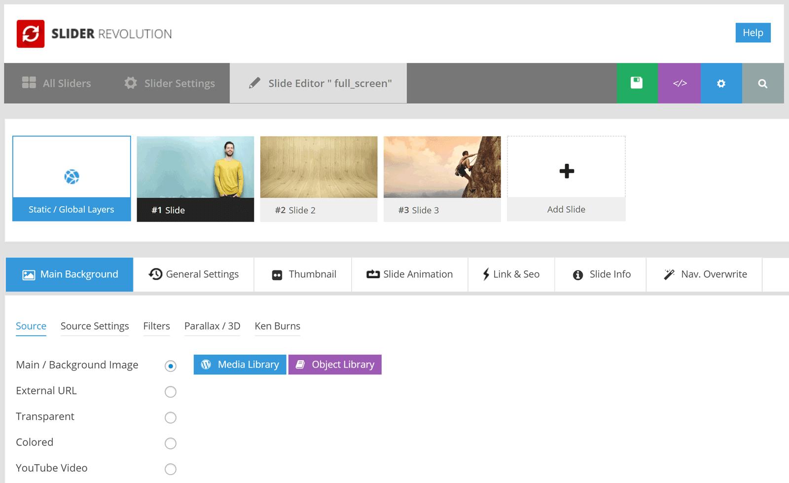 Slider Revolution UI