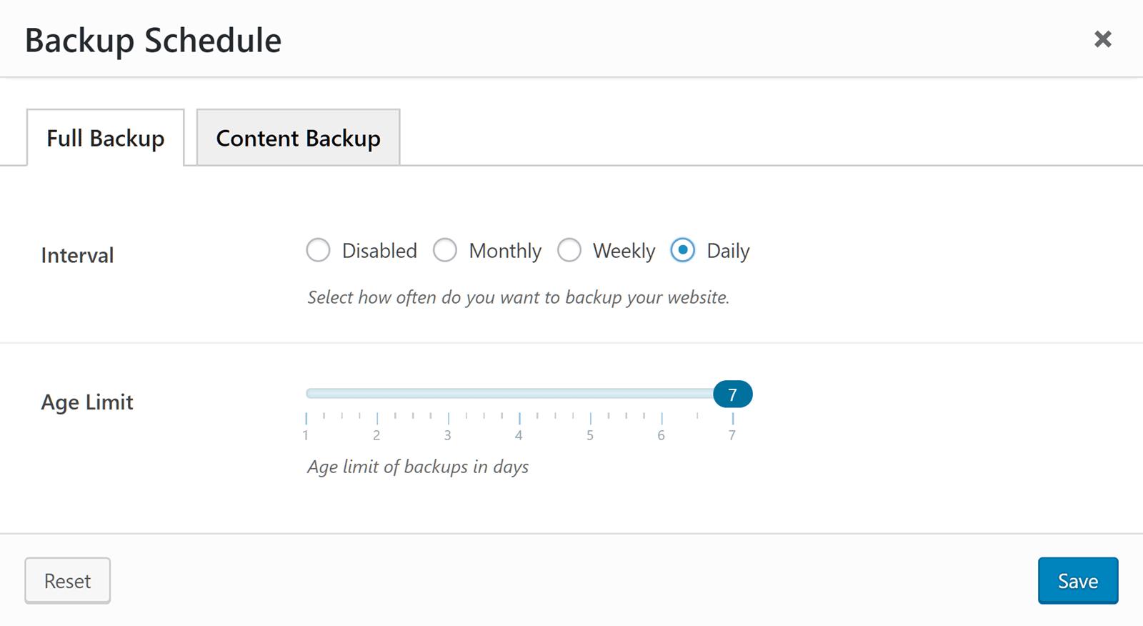 Website Backup Schedule