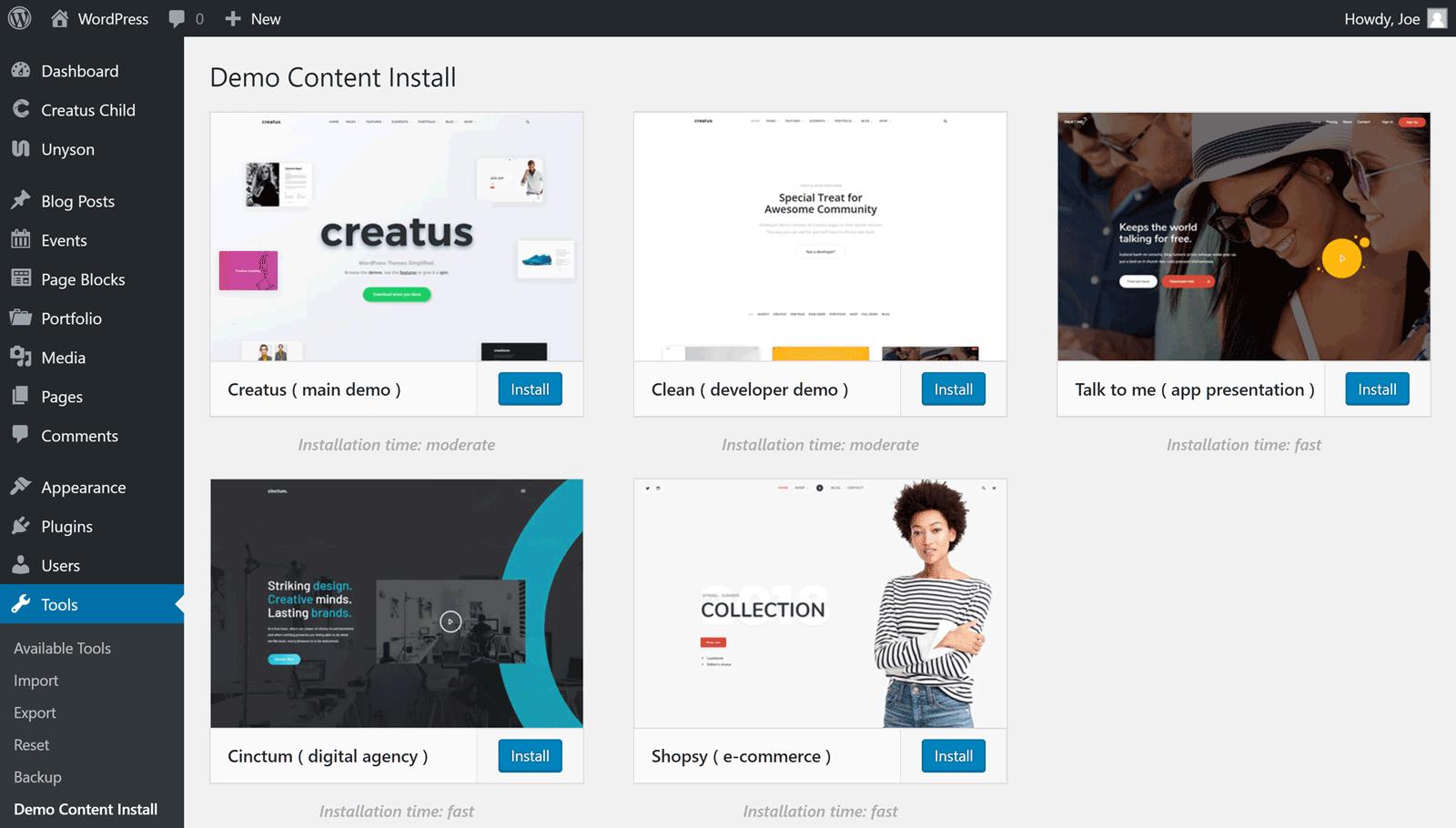 Demo Content Installer
