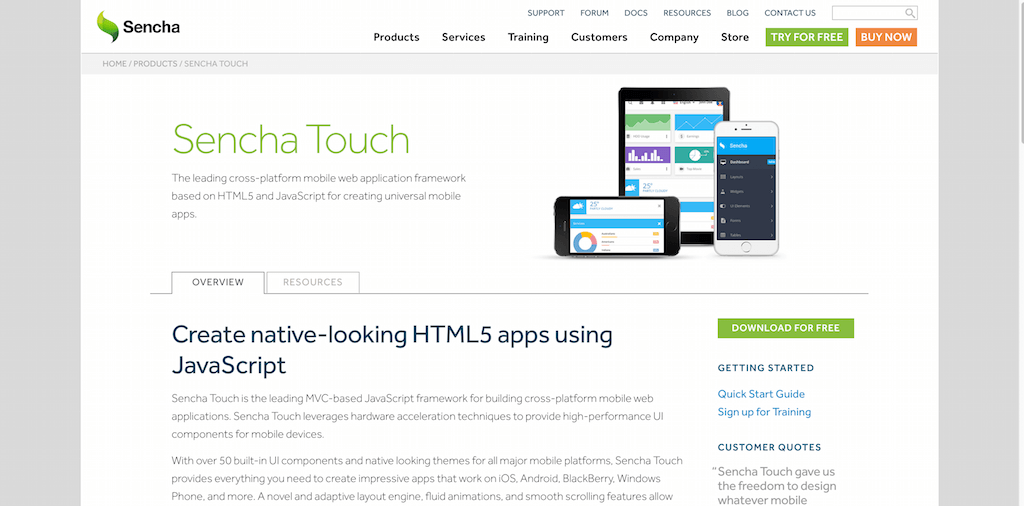Cross platform Mobile Web App Development Framework for HTML5 and JS Sencha