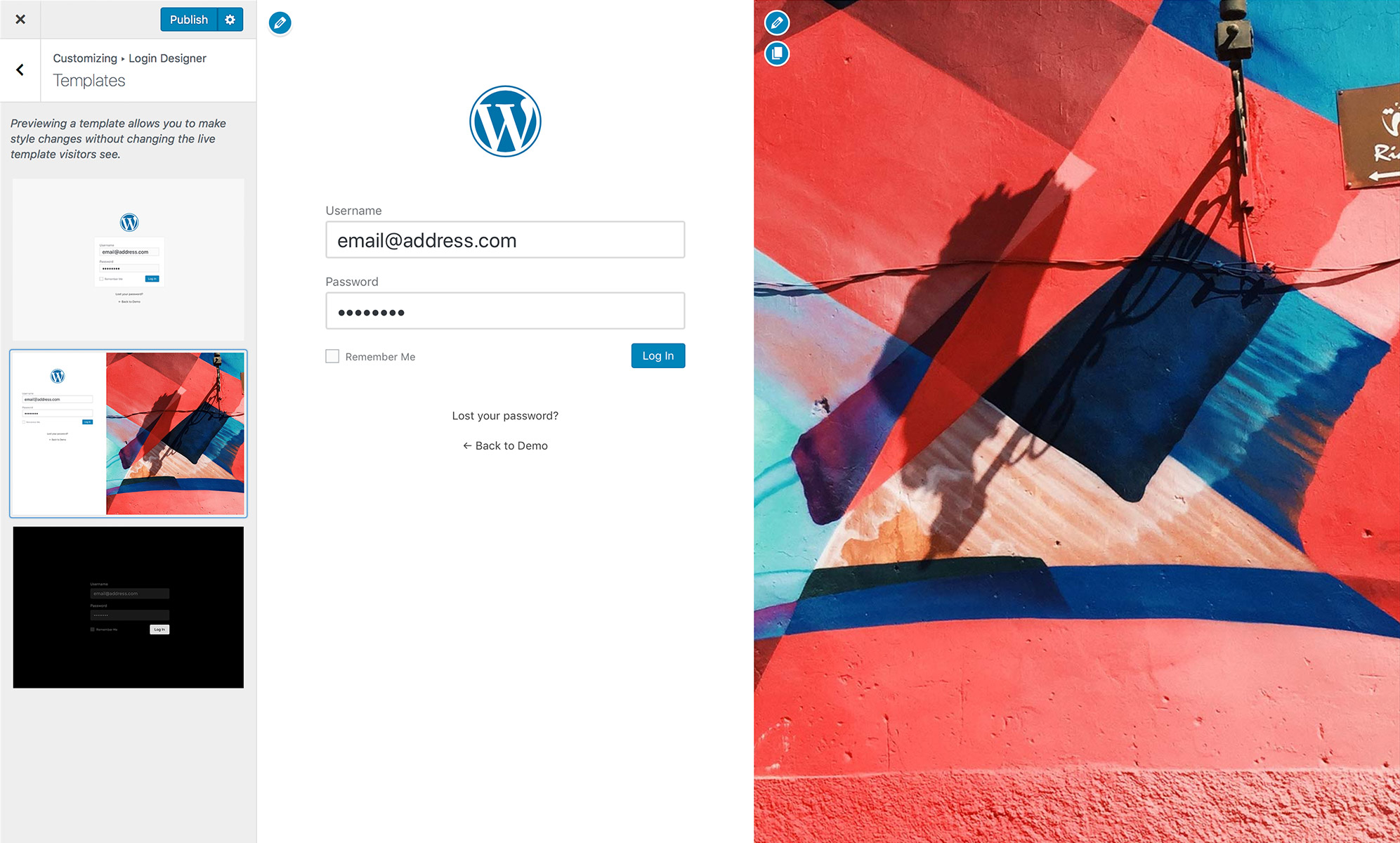 Change the backdrop of your login page using Custom Login Page Customizer