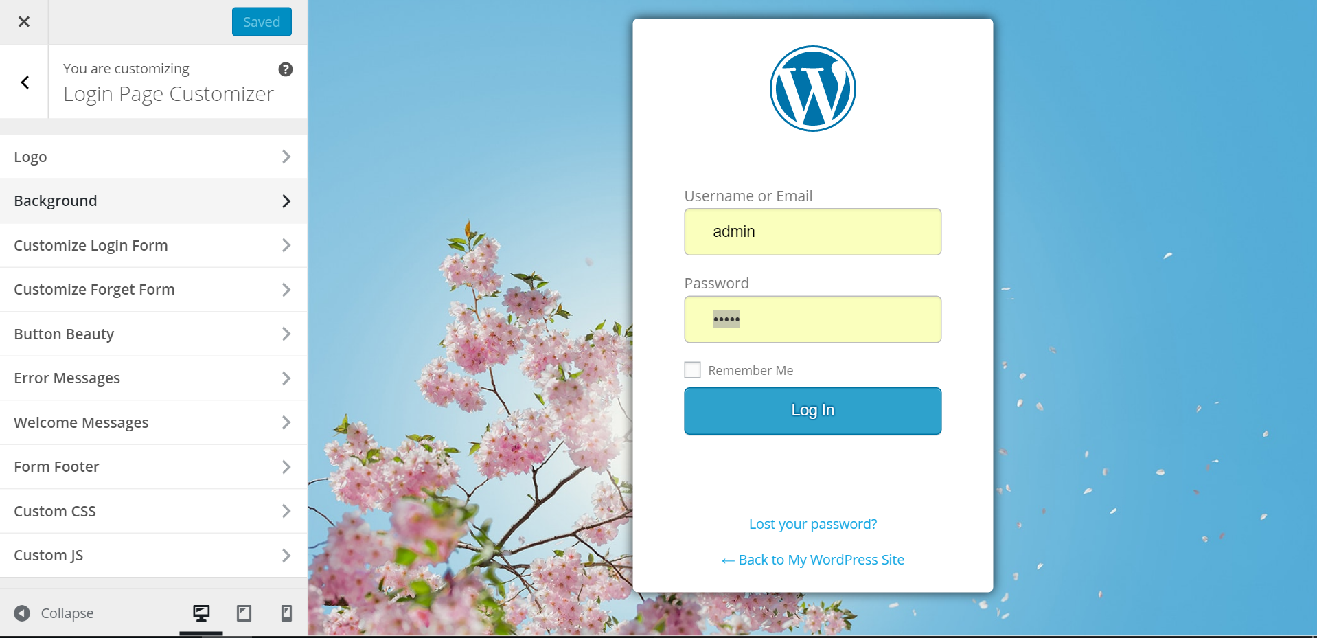 Have a beautiful backdrop using this login plugin