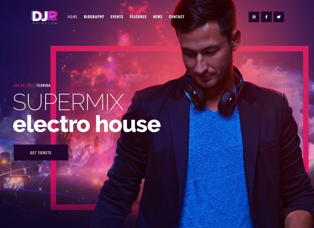 DJ Rainflow   A Music Band & Musician WordPress Theme