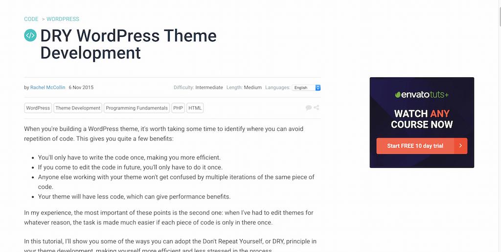 DRY WordPress Theme Development