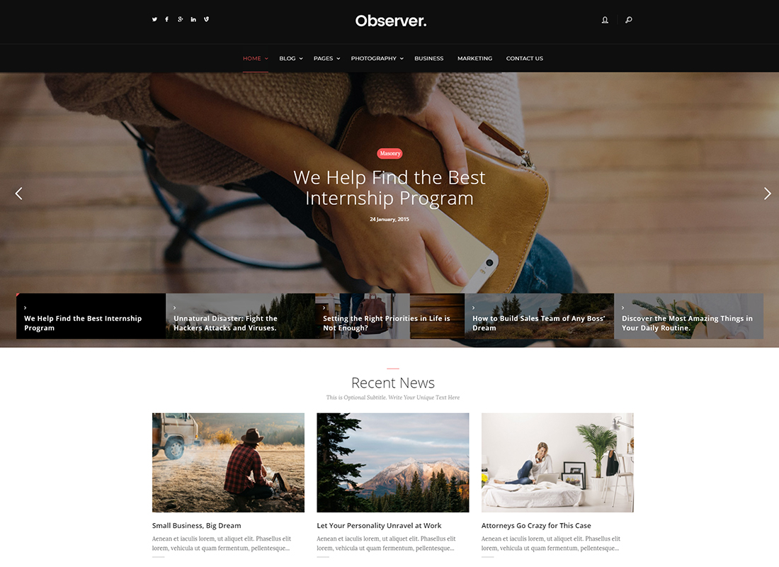 Daily Observer - A Modern Magazine, Review & News Portal WordPress Theme