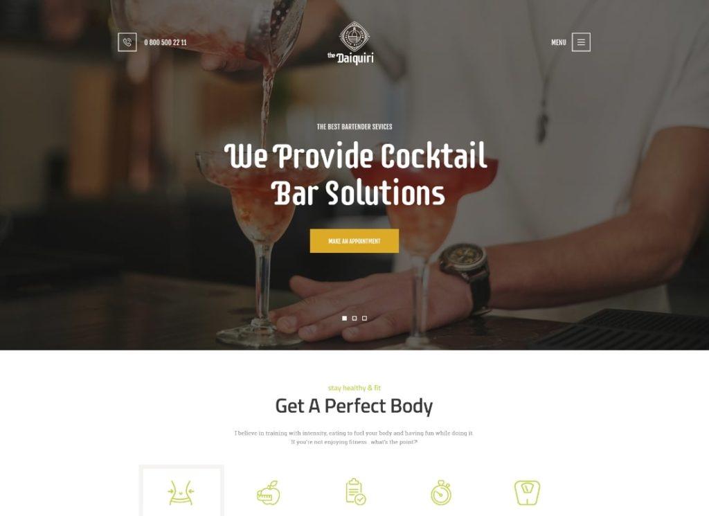 Daiquiri | Bartender Services & Catering Cocktail WordPress Theme