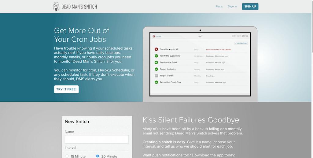 Dead Man s Snitch — A dead simple cron job monitoring tool.