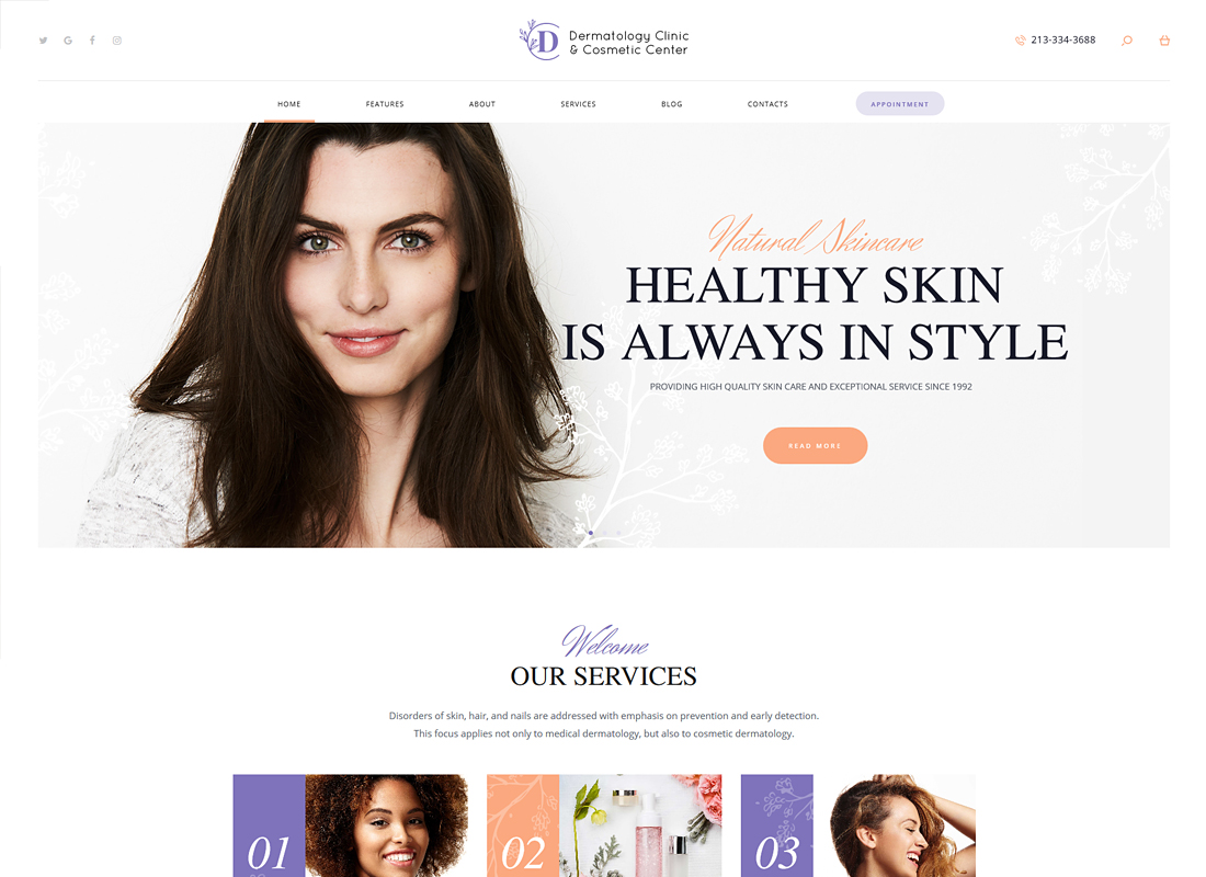 D&C - Dermatology Clinic & Cosmetology Center WordPress Theme