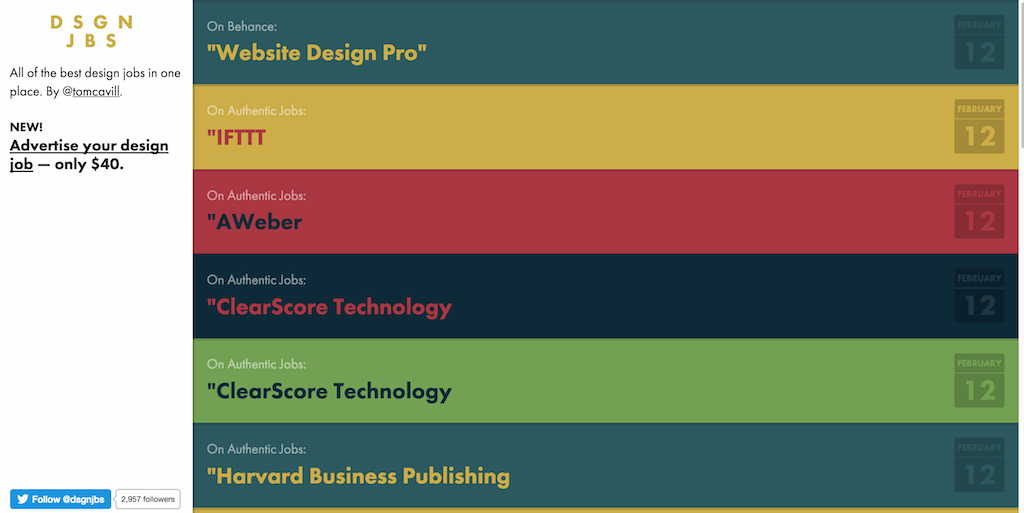 Design Jobs — all of the best design job board postings in one place. DSGNJBS.com