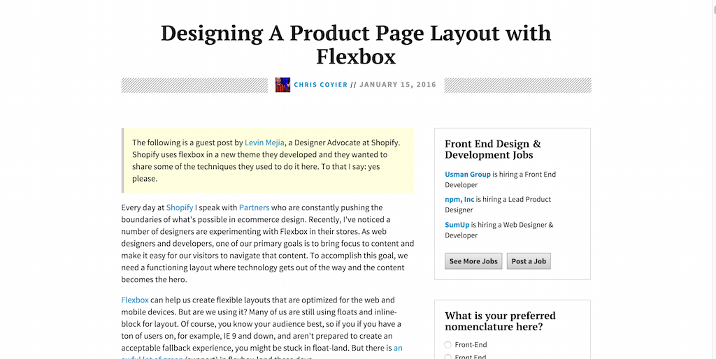 Designing A Product Page Layout with Flexbox CSS Tricks