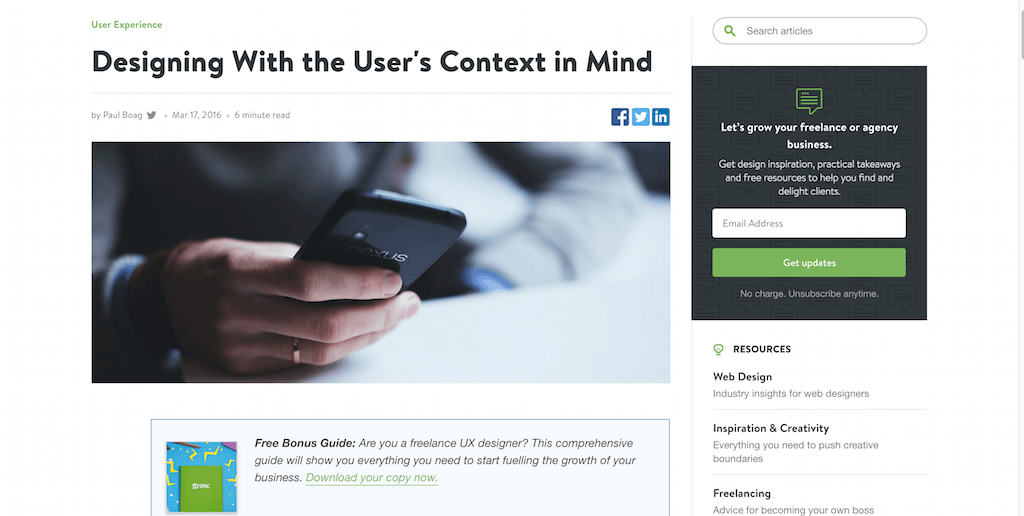Designing With the User's Context in Mind