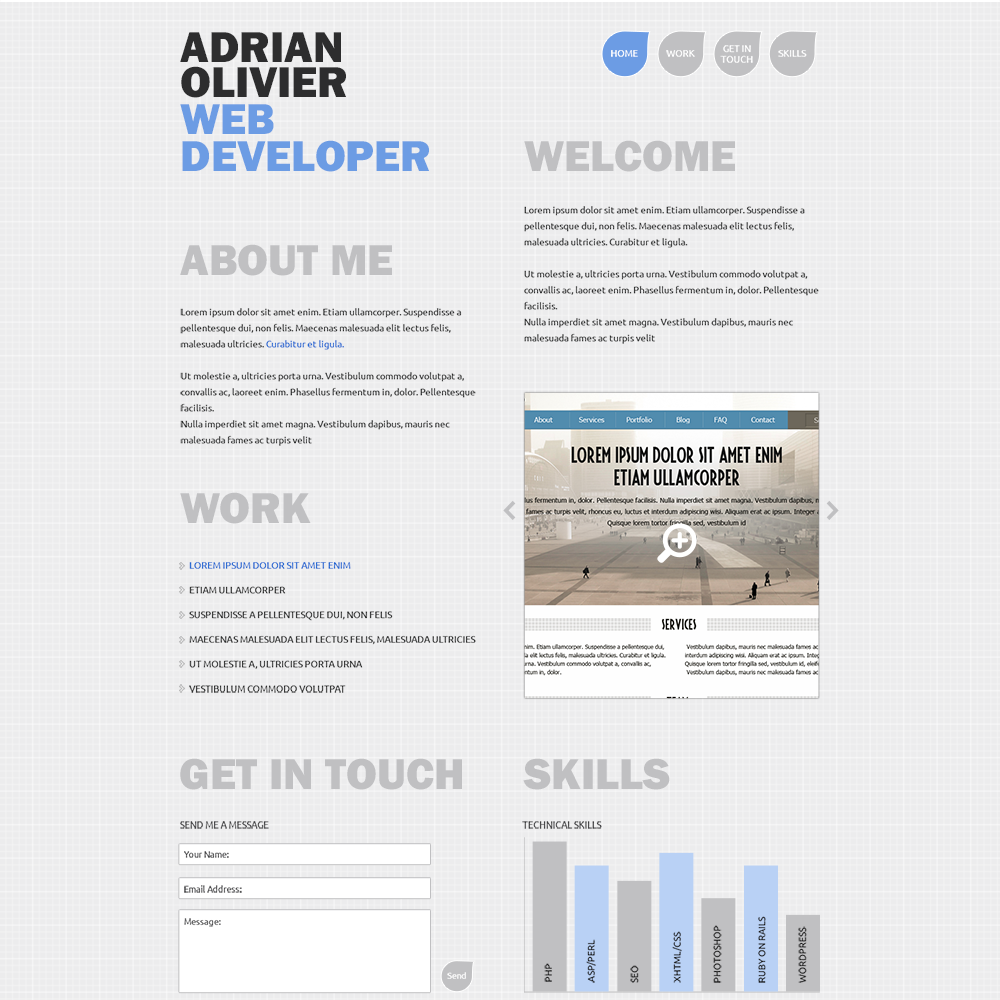 Resume Website Template simplicity Free Developer Psd Portfolio Template