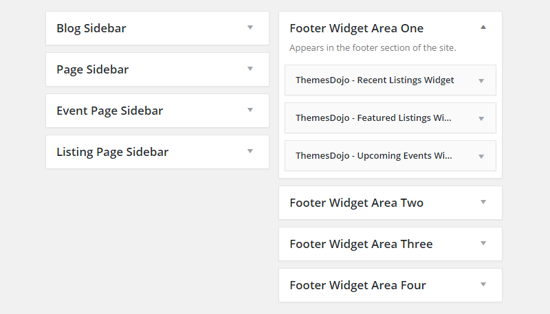 Directory Builder Review Widget Areas