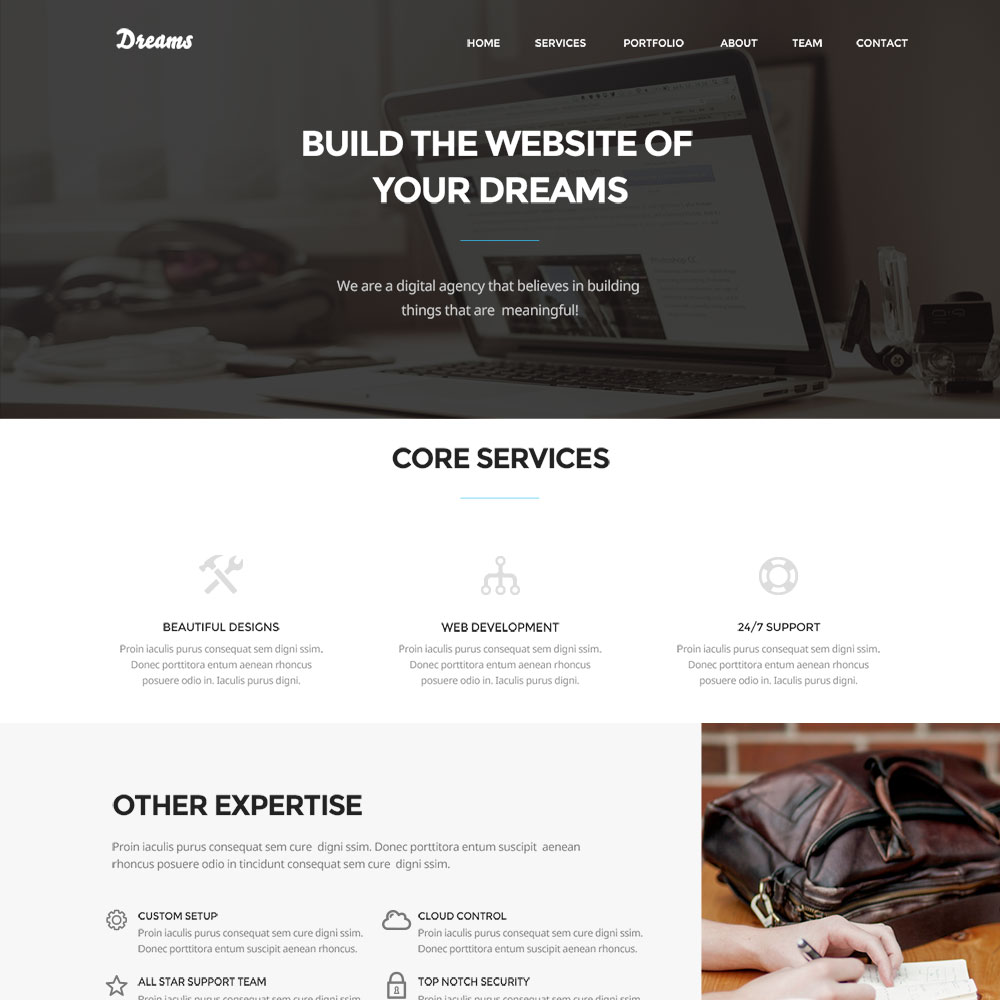 Dreams Free PSD One Page Templates