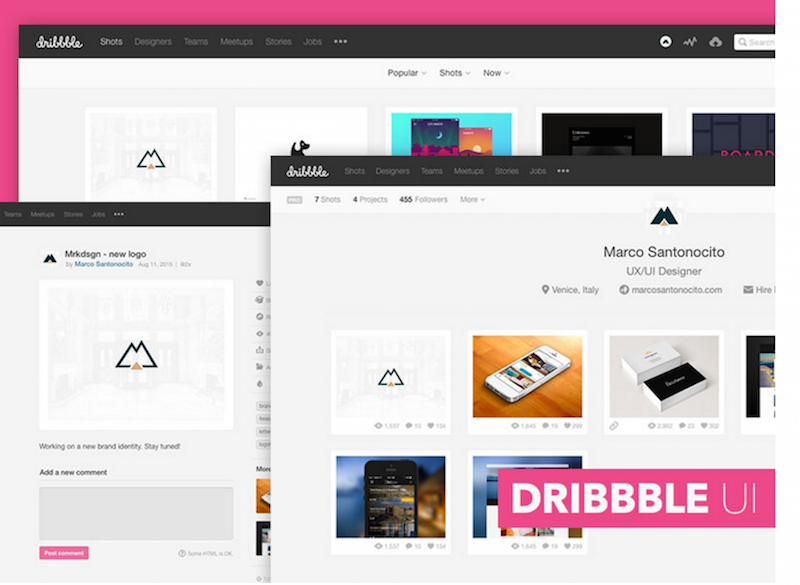Dribbble GUI Sketch