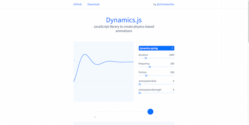 Dynamics.js - JavaScript library to create physics-based animations