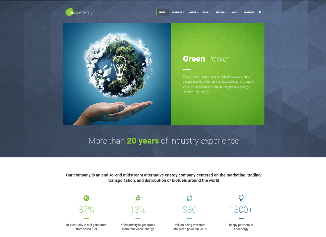 ECO Energy - Ecology & Alternative Energy Company WordPress Theme