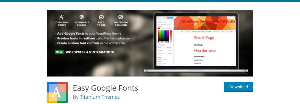 WordPress Font Plugins: Easy Google Fonts