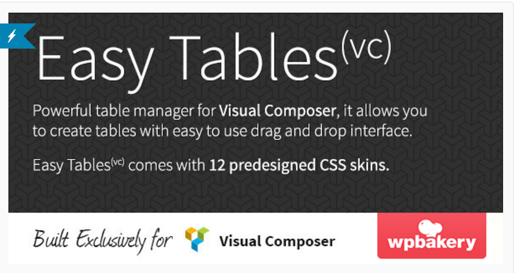 Easy Tables Table Manager for WPBakery Page Builder WordPress