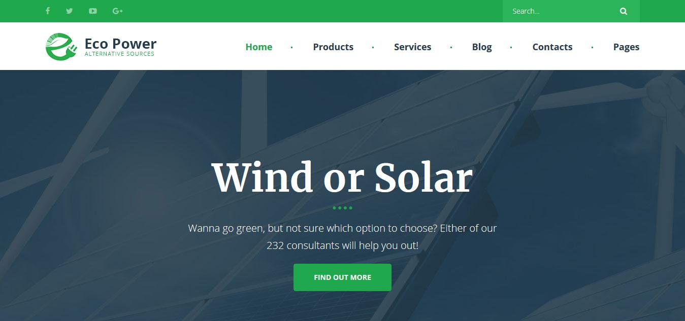 Wind energy website templates