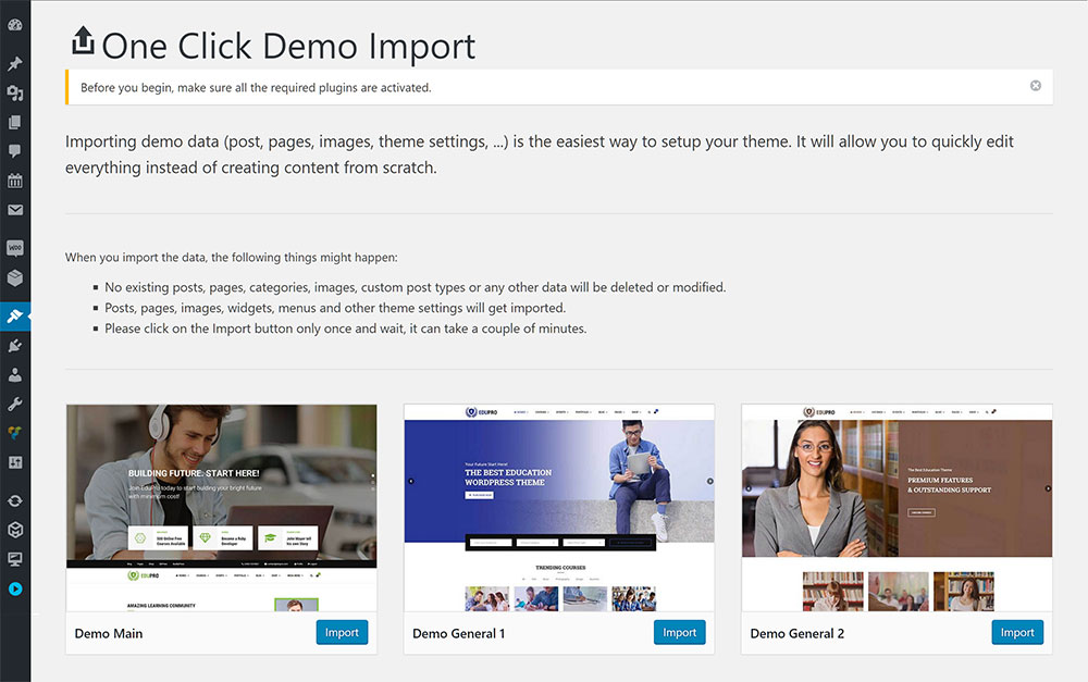 EduPro Demo Import