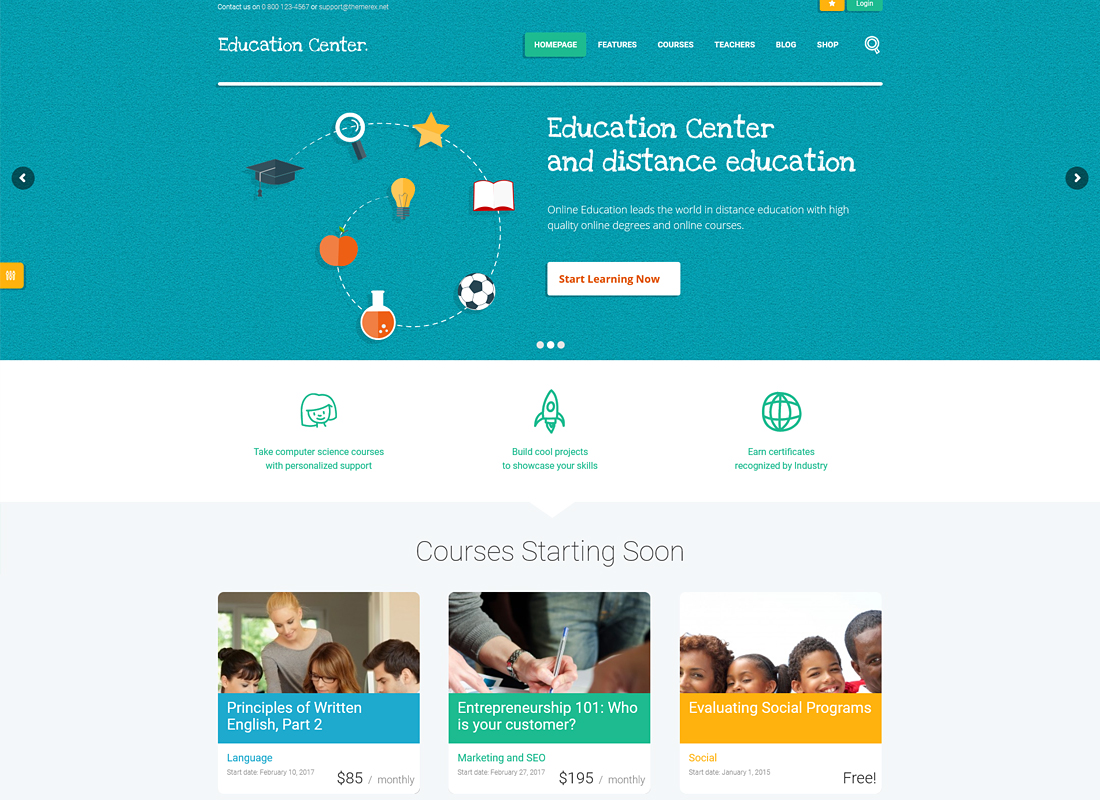 Education Center - Training Courses WordPress Theme