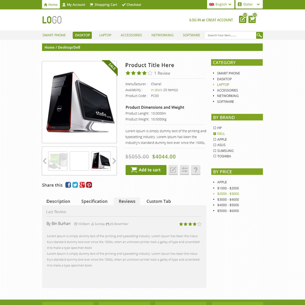 Electronic Free PSD eCommerce Template