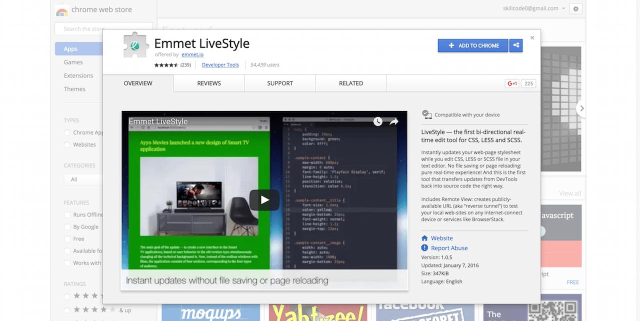 Emmet LiveStyle Chrome Web Store