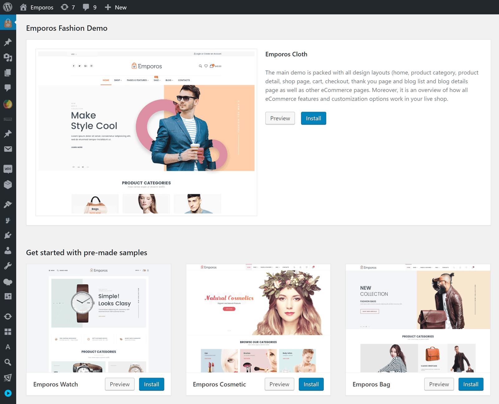 Emporos Website Demo Import