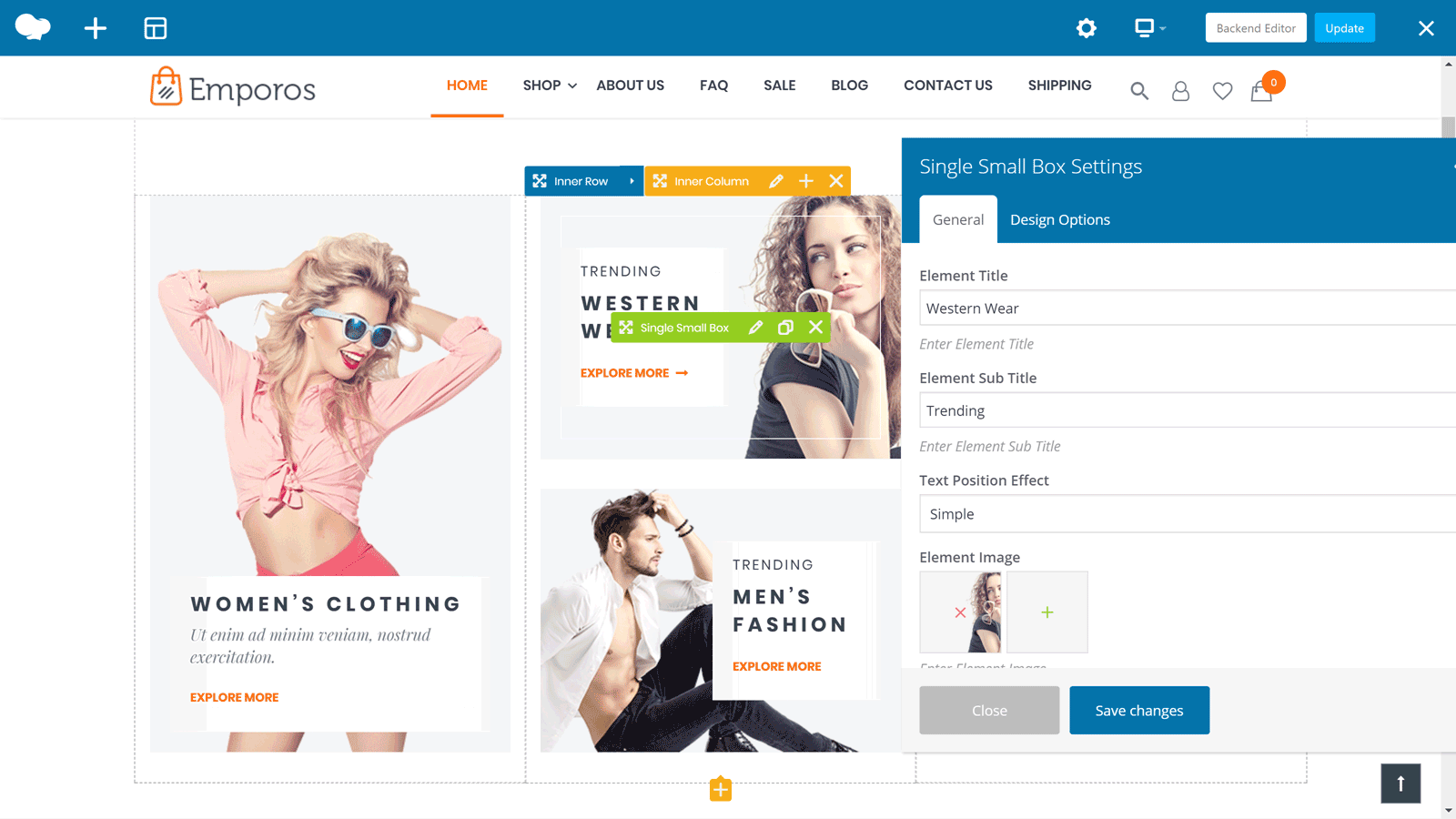 Emporos Front End Page Builder