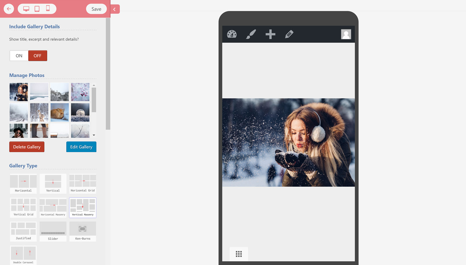 Gallery Builder Mobile Preview