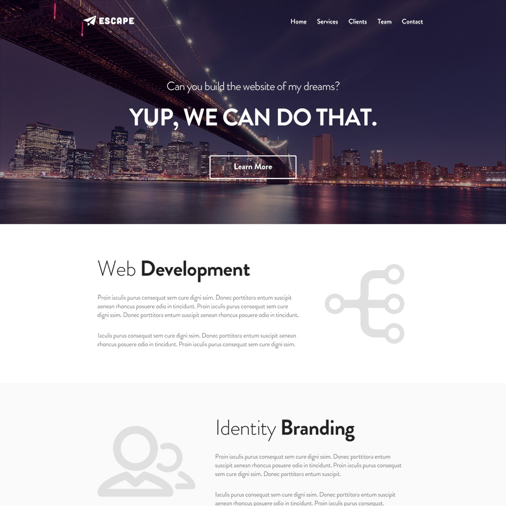Escape Free PSD One Page Template