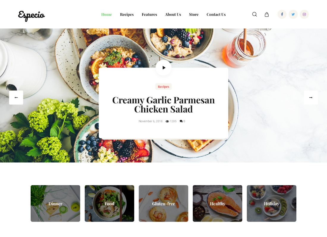 Especio | Gutenberg Food Blog WordPress Theme