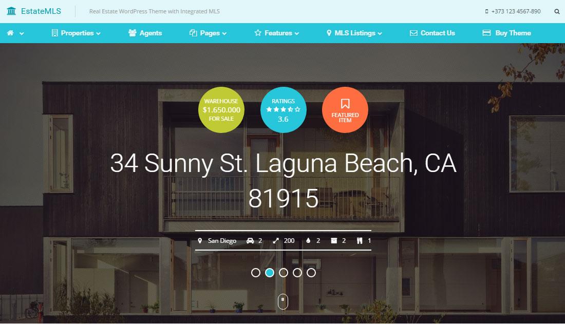 EstateMLS Review: Real Estate WordPress Theme With Material Design