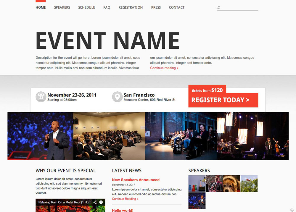 Event Manager theme Preview