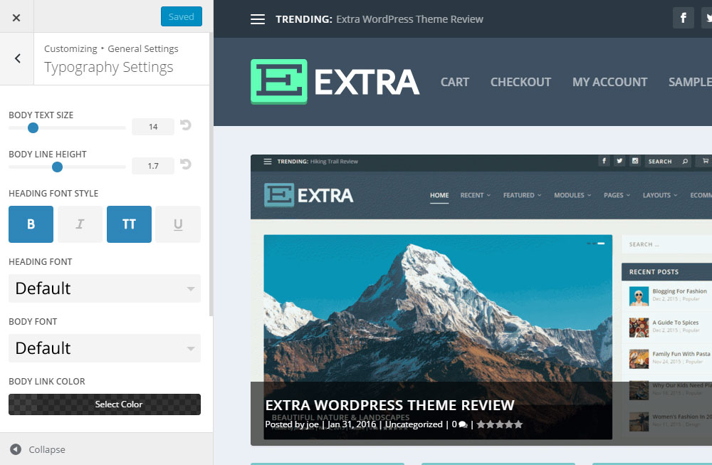Extra WordPress Theme Review Customizer Typograhy