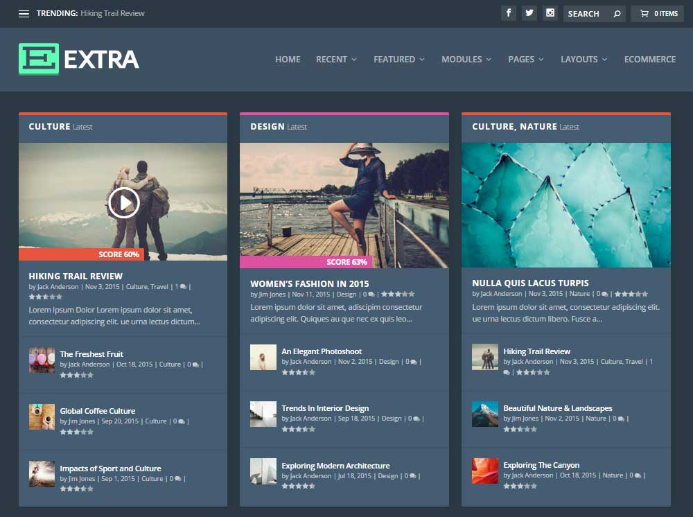 Extra WordPress Theme Review Dark