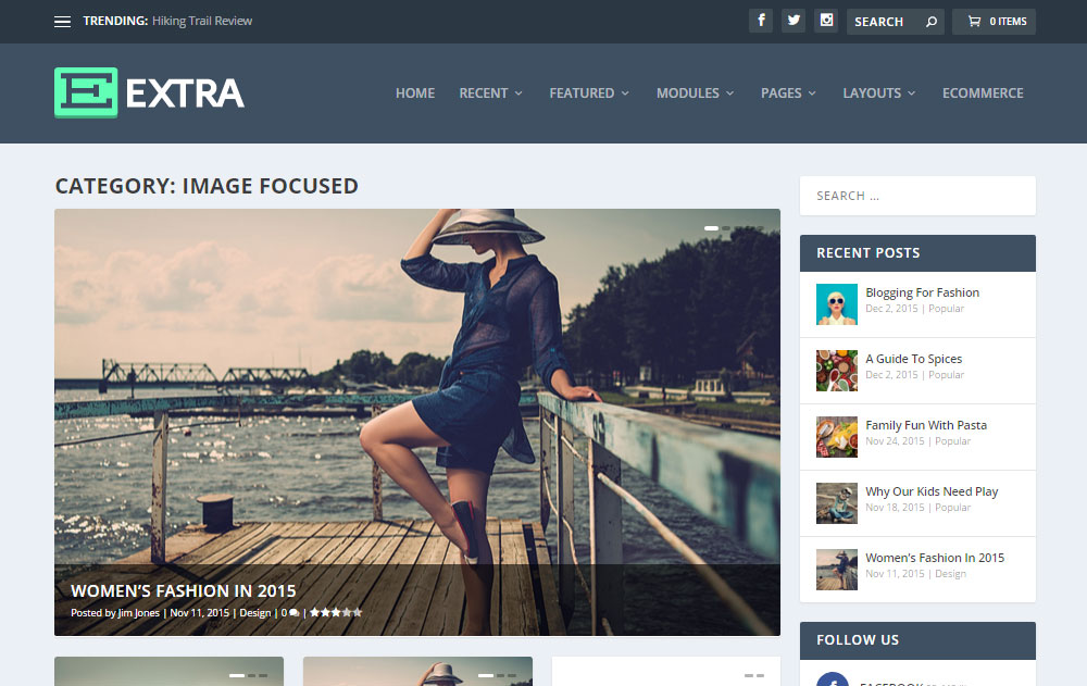 Extra WordPress Theme Review Homepage Option