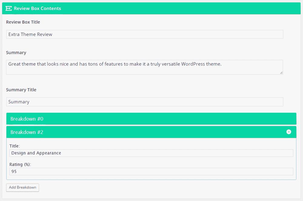 Extra WordPress Theme Review Review Box