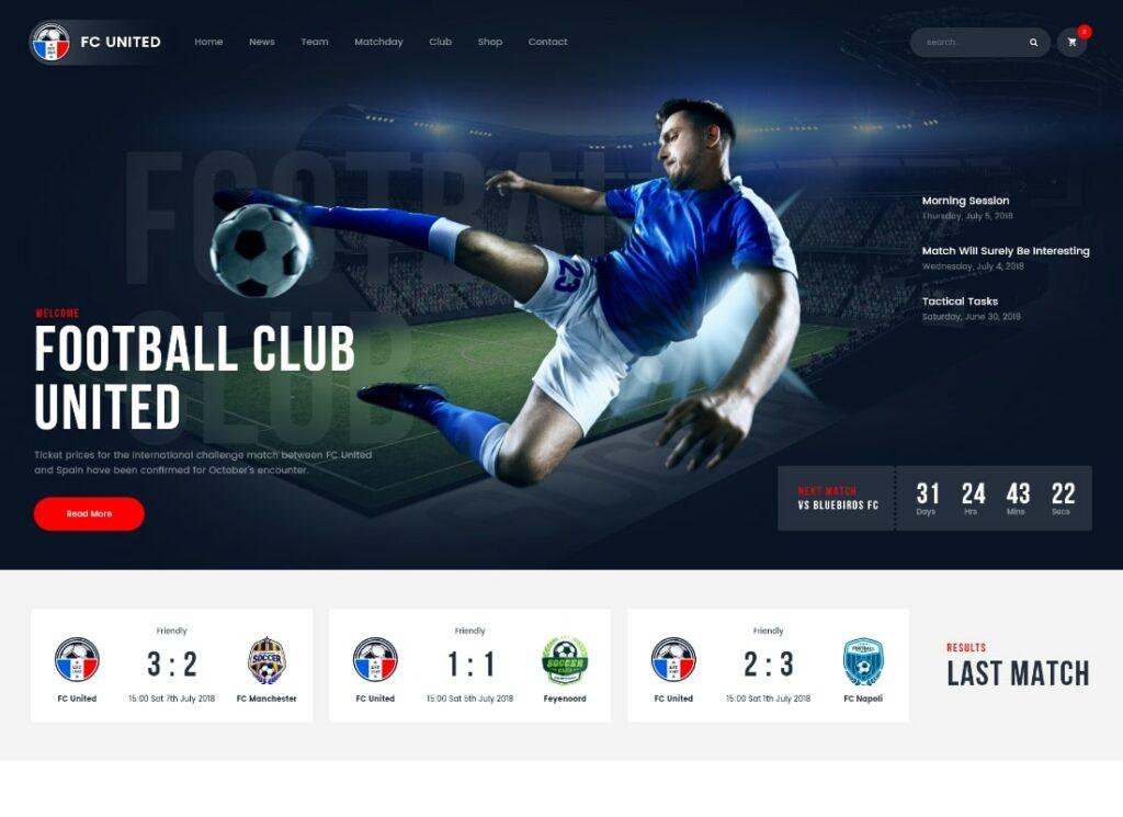 FC United   Football, Soccer & Sports WordPress Theme + RTL
