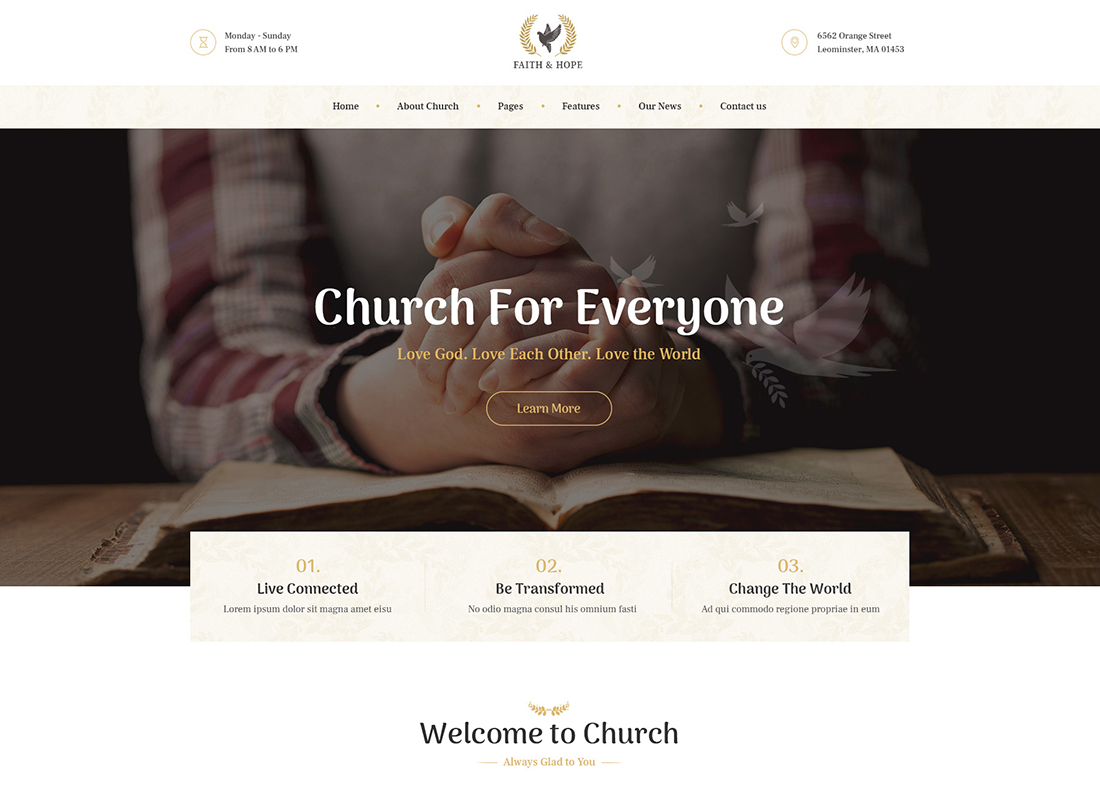 Faith & Hope - A Modern Church & Religion WordPress Theme