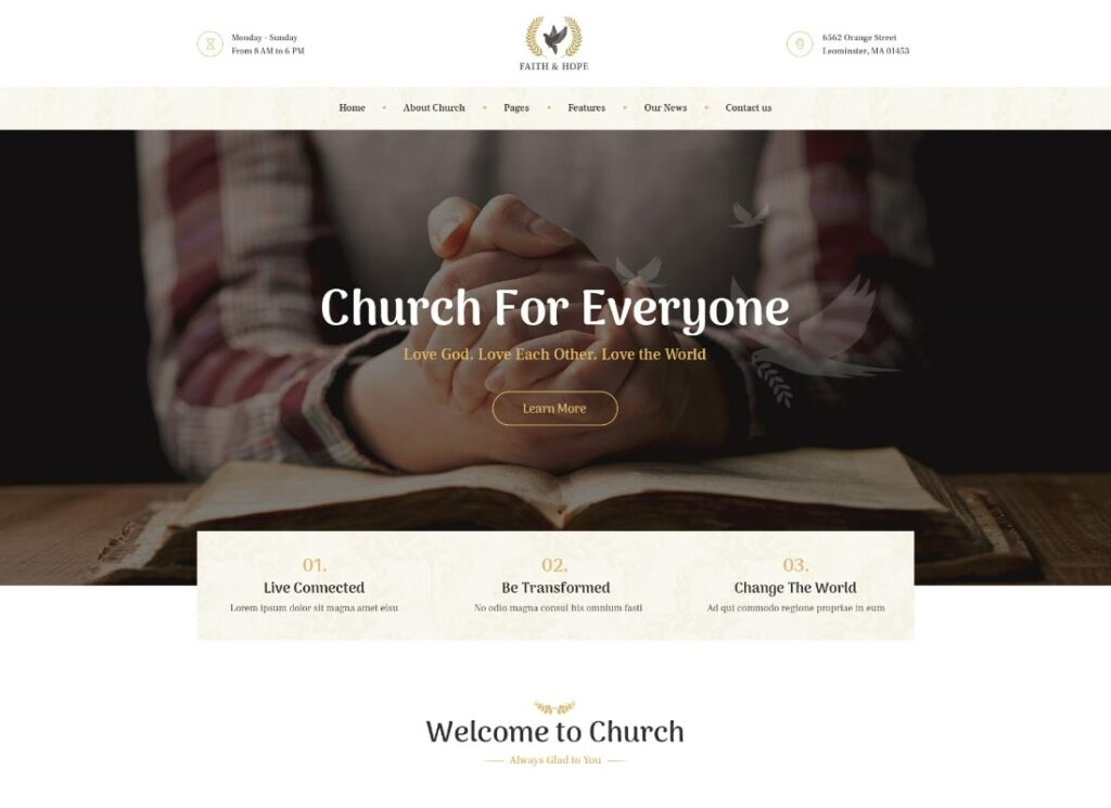 Faith & Hope | A Modern Church & Religion Non-Profit WordPress Theme