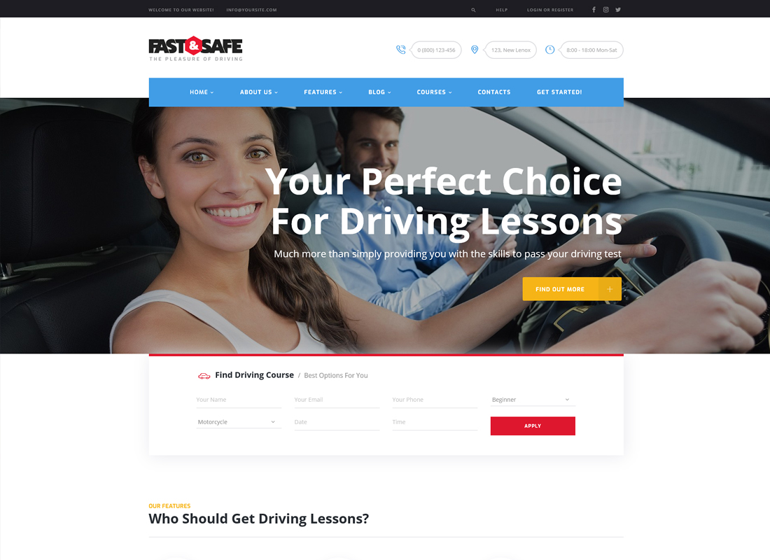 Fast & Safe - Driving School WordPress Theme