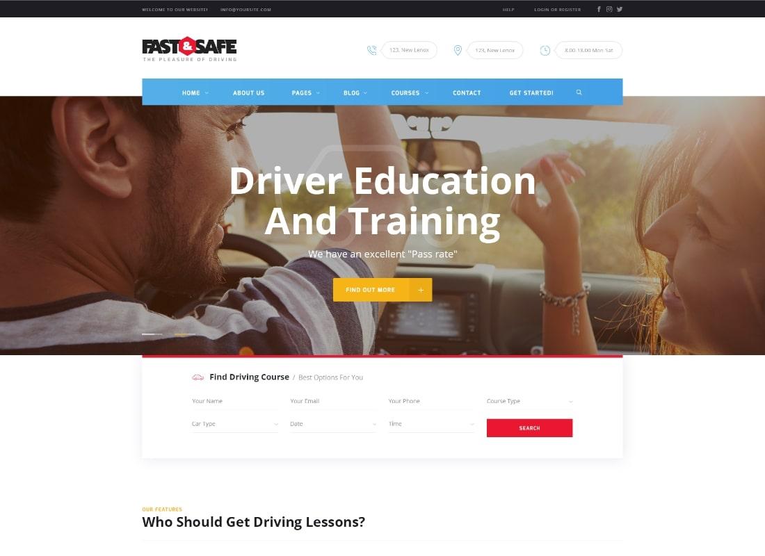 Fast & Safe | Driving School WordPress Theme