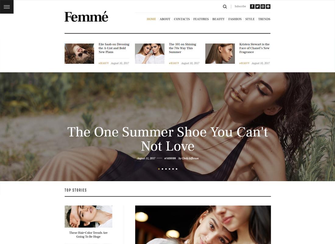 Femme - An Online Magazine & Fashion Blog WordPress Theme