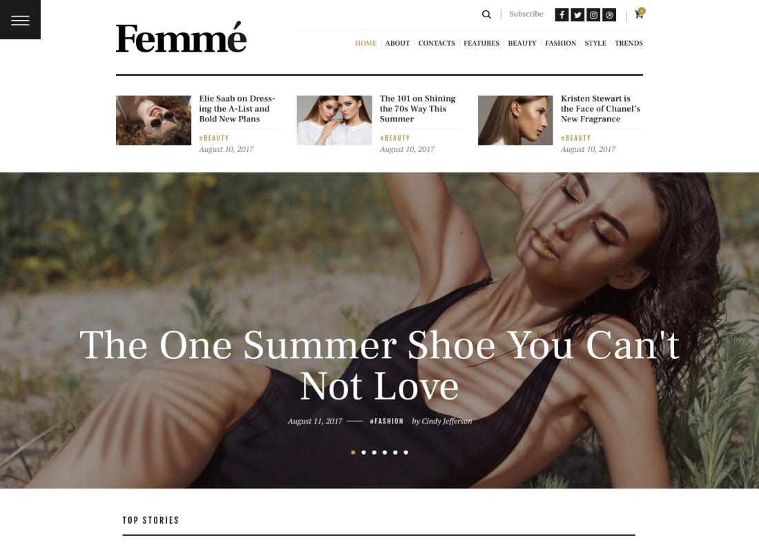 Femme | An Online Magazine & Fashion Blog WordPress Theme